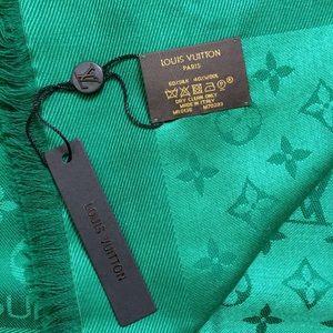 Louis Vuitton Monogram shawl scarf silk/wool